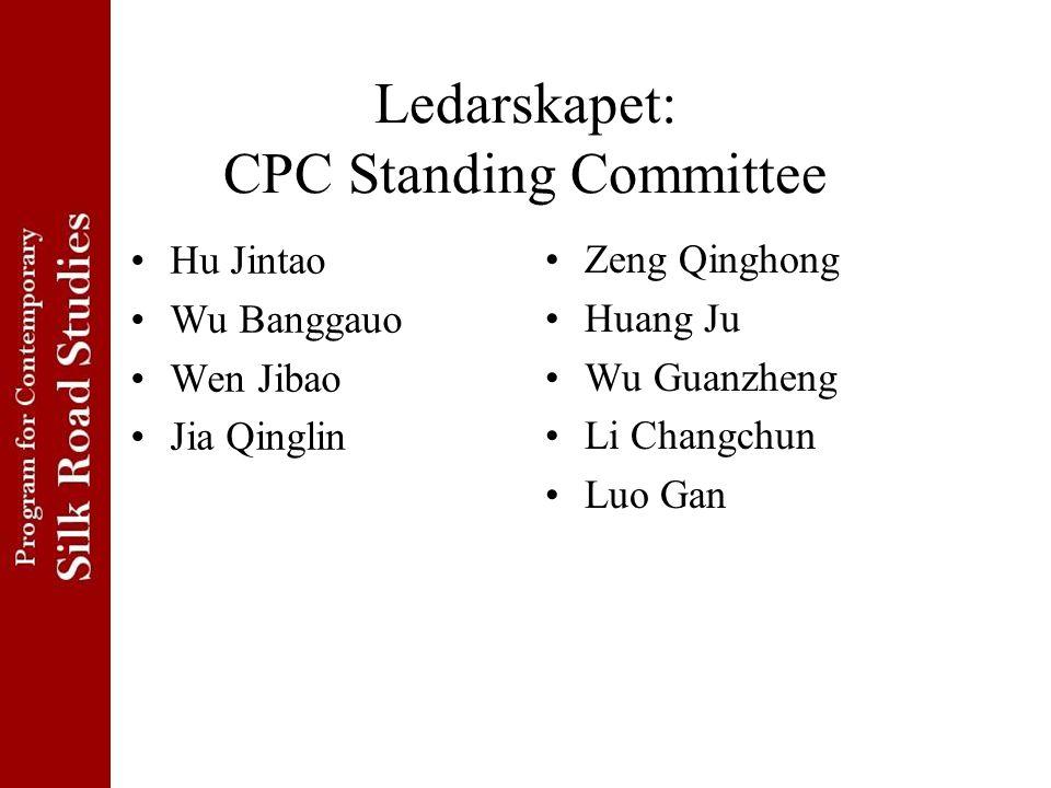 Ledarskapet: CPC Standing Committee Hu Jintao Wu Banggauo Wen Jibao Jia Qinglin Zeng Qinghong Huang Ju Wu Guanzheng Li Changchun Luo Gan