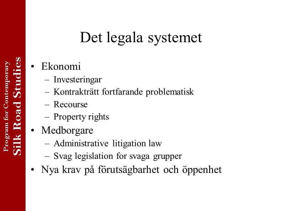 Det legala systemet Ekonomi –Investeringar –Kontrakträtt fortfarande problematisk –Recourse –Property rights Medborgare –Administrative litigation law