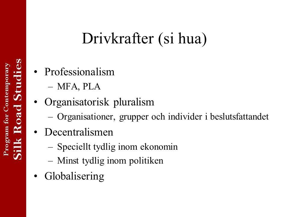 Drivkrafter (si hua) Professionalism –MFA, PLA Organisatorisk pluralism –Organisationer, grupper och individer i beslutsfattandet Decentralismen –Speciellt tydlig inom ekonomin –Minst tydlig inom politiken Globalisering