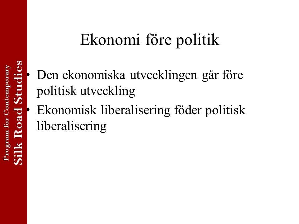 Ekonomi före politik Den ekonomiska utvecklingen går före politisk utveckling Ekonomisk liberalisering föder politisk liberalisering