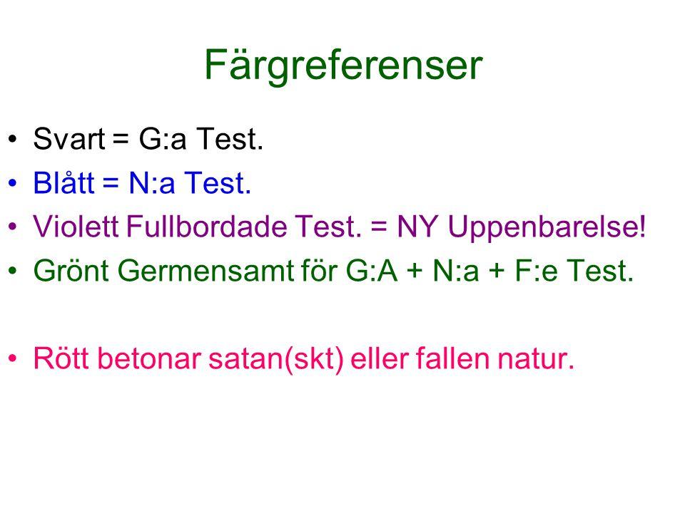 Färgreferenser Svart = G:a Test. Blått = N:a Test. Violett Fullbordade Test. = NY Uppenbarelse! Grönt Germensamt för G:A + N:a + F:e Test. Rött betona