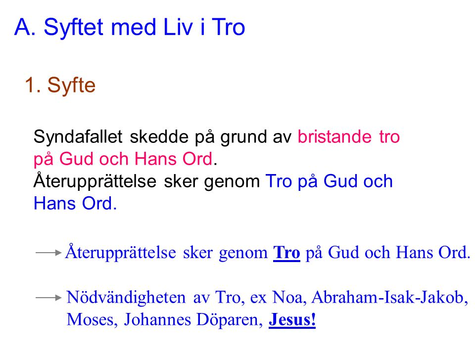 A. Syftet med Liv i Tro 1. Syfte Syndafallet skedde på grund av bristande tro på Gud och Hans Ord. Återupprättelse sker genom Tro på Gud och Hans Ord.