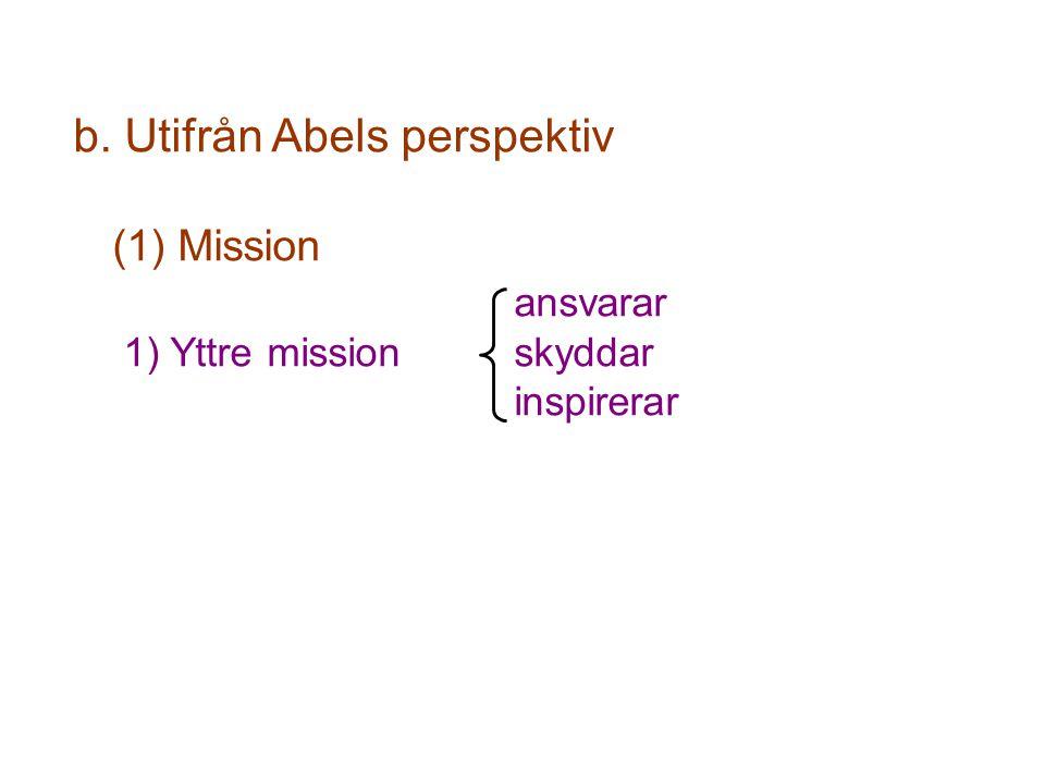 b. Utifrån Abels perspektiv (1) Mission ansvarar 1) Yttre mission skyddar inspirerar