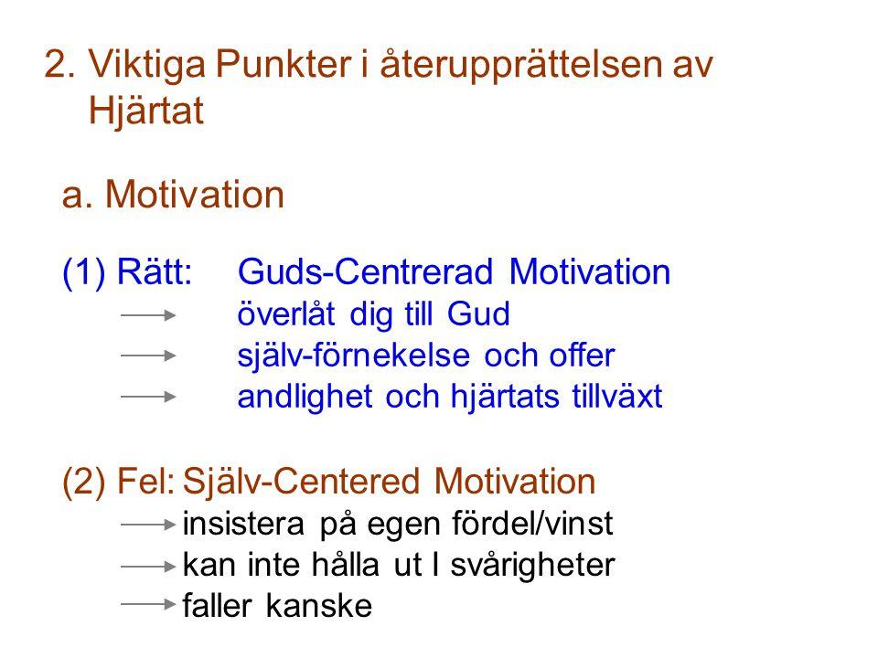 (2) Fel:Själv-Centered Motivation insistera på egen fördel/vinst kan inte hålla ut I svårigheter faller kanske 2.Viktiga Punkter i återupprättelsen av