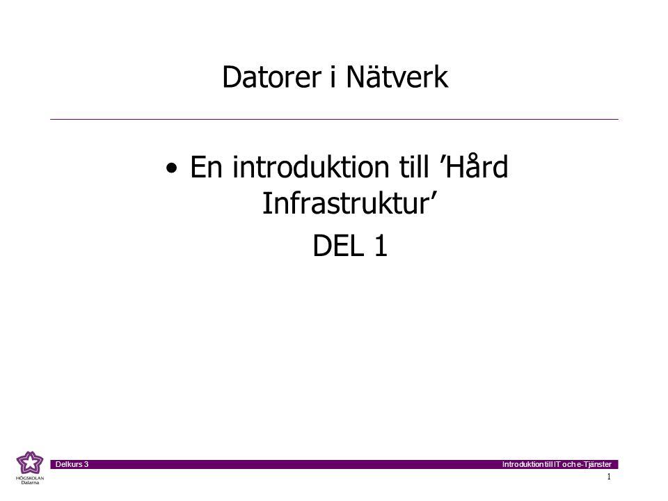 Introduktion till IT och e-Tjänster Delkurs 3 1 Datorer i Nätverk En introduktion till 'Hård Infrastruktur' DEL 1