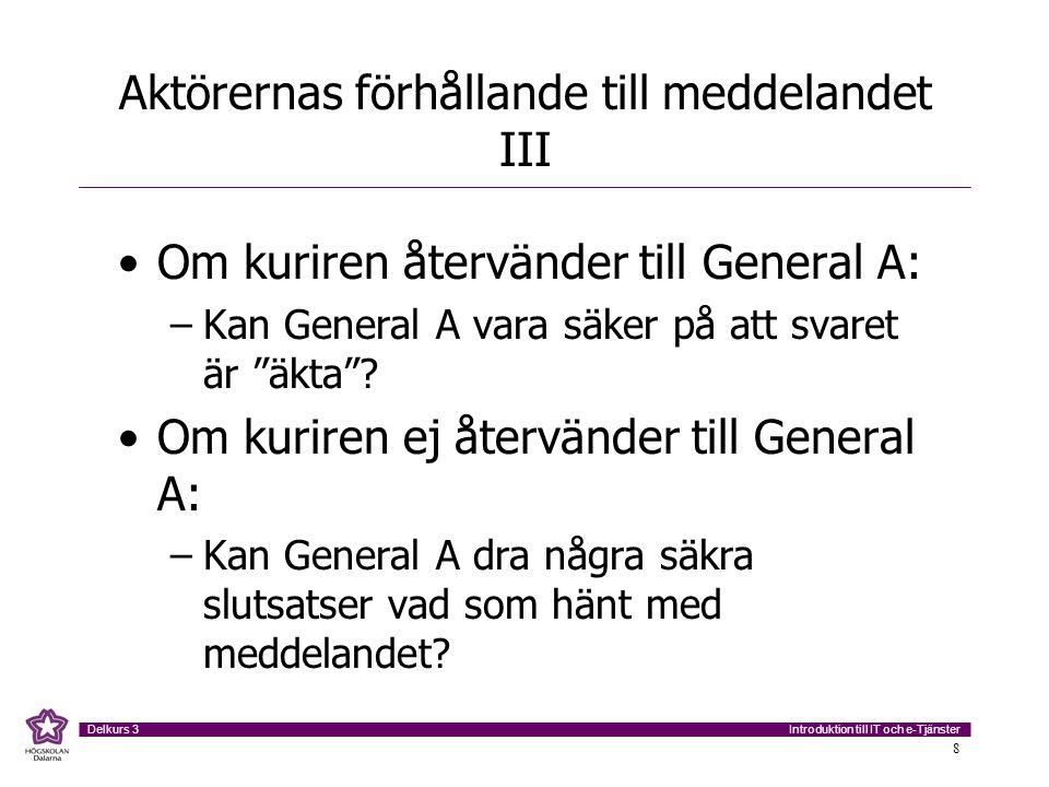 Introduktion till IT och e-Tjänster Delkurs 3 8 Aktörernas förhållande till meddelandet III Om kuriren återvänder till General A: –Kan General A vara