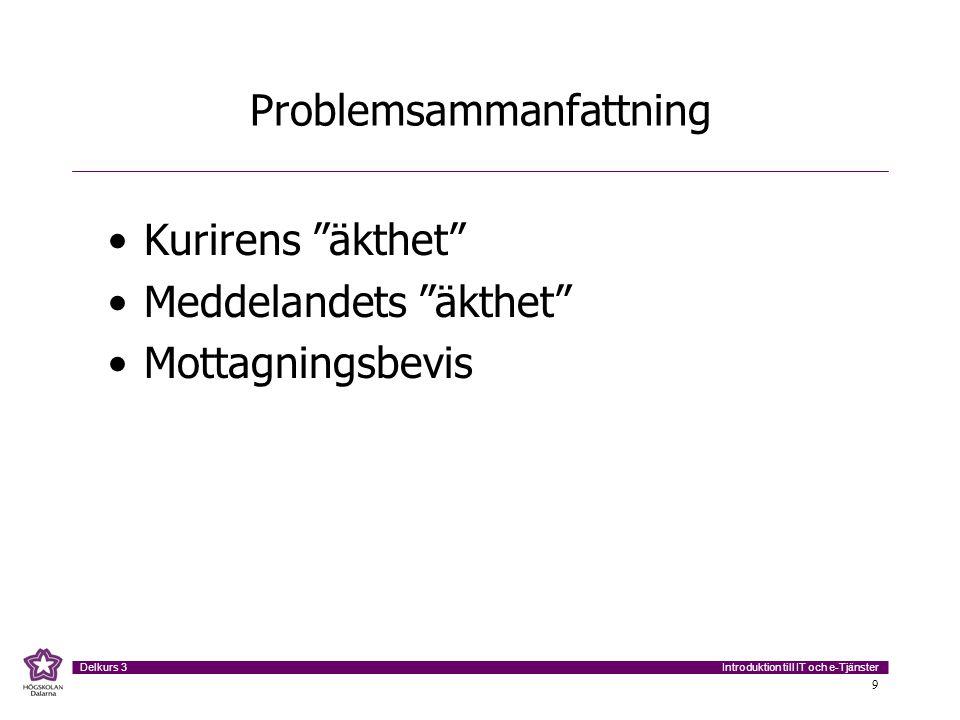 """Introduktion till IT och e-Tjänster Delkurs 3 9 Problemsammanfattning Kurirens """"äkthet"""" Meddelandets """"äkthet"""" Mottagningsbevis"""