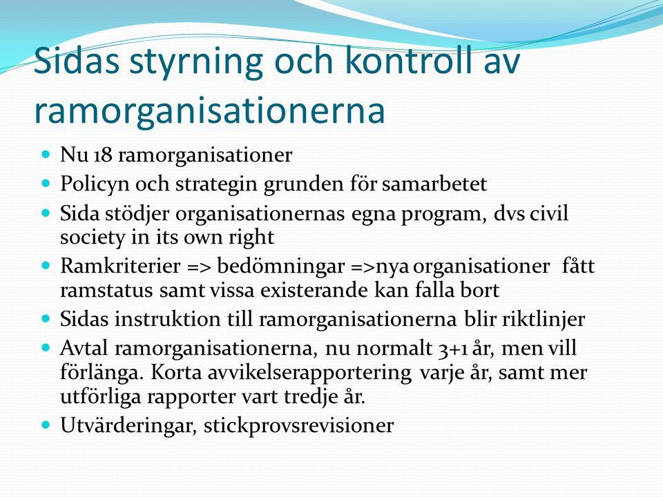 Sidas styrning och kontroll av ramorganisationerna Nu 18 ramorganisationer Policyn och strategin grunden för samarbetet Sida stödjer organisationernas