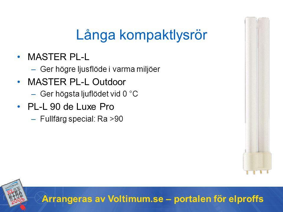 Arrangeras av Voltimum.se – portalen för elproffs Långa kompaktlysrör MASTER PL-L –Ger högre ljusflöde i varma miljöer MASTER PL-L Outdoor –Ger högsta
