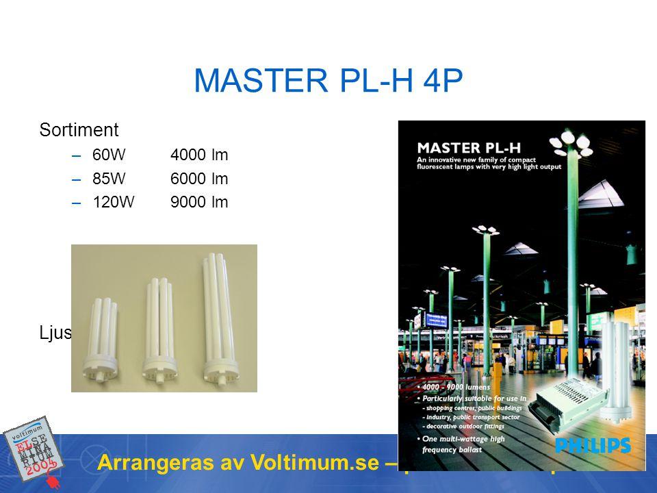 Arrangeras av Voltimum.se – portalen för elproffs MASTER PL-H 4P Sortiment –60W 4000 lm –85W 6000 lm –120W 9000 lm Ljusfärg 830 och 840