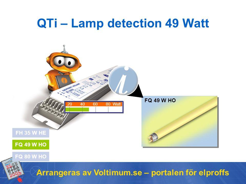 Arrangeras av Voltimum.se – portalen för elproffs FH 35 W HE FQ 49 W HO FQ 80 W HO FQ 49 W HO 20406080Watt QTi – Lamp detection 49 Watt QTi general in
