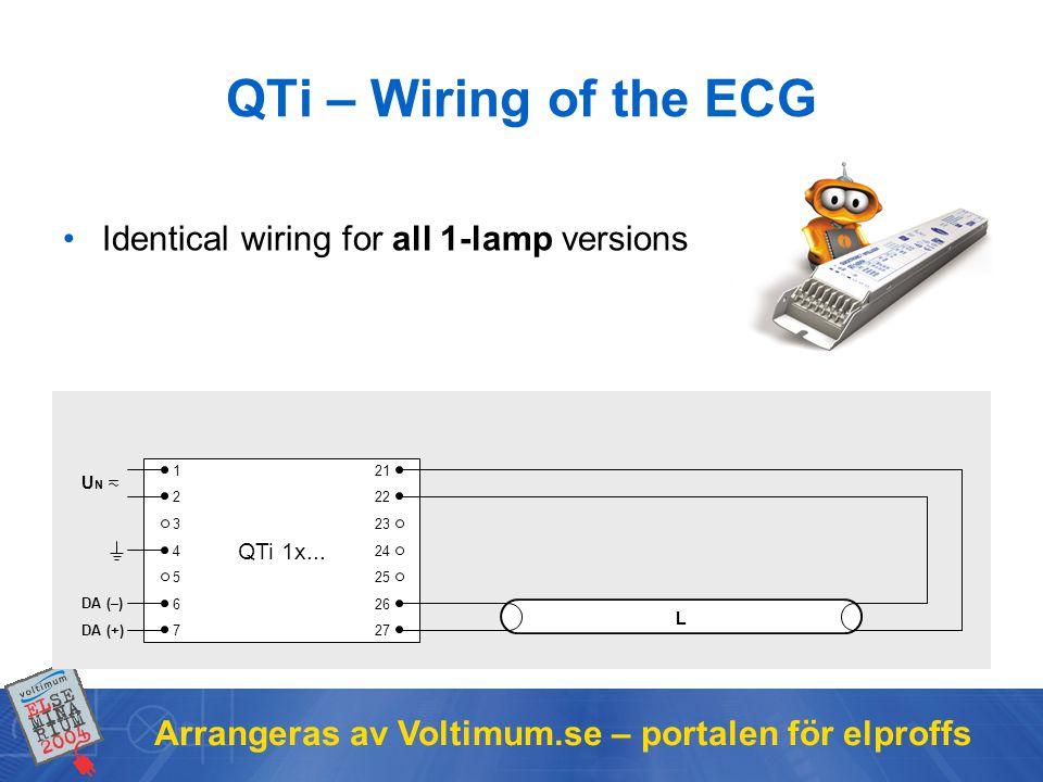 Arrangeras av Voltimum.se – portalen för elproffs QTi – Wiring of the ECG Identical wiring for all 1-lamp versions QTi 1x... DA (+) DA (–) 1 2 3 4 5 6