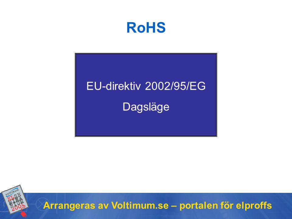 Arrangeras av Voltimum.se – portalen för elproffs RoHS EU-direktiv 2002/95/EG Dagsläge