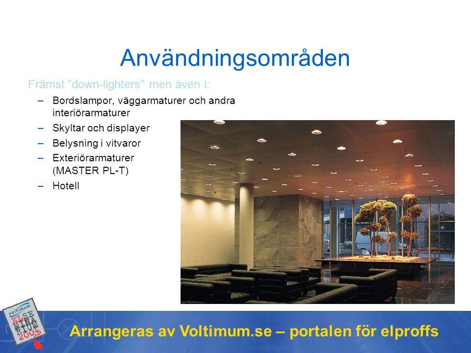 """Arrangeras av Voltimum.se – portalen för elproffs Användningsområden Främst """"down-lighters"""" men även i: –Bordslampor, väggarmaturer och andra interiör"""
