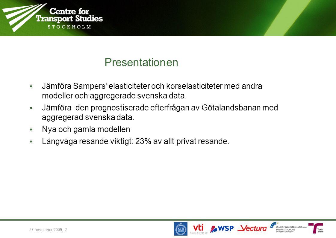 Presentationen Jämföra Sampers' elasticiteter och korselasticiteter med andra modeller och aggregerade svenska data.