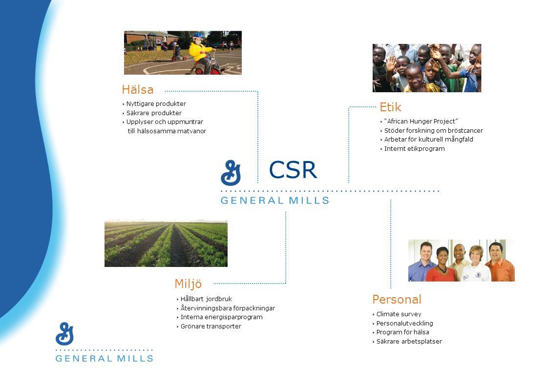 Hälsa Personal Etik Miljö ‣ Nyttigare produkter ‣ Säkrare produkter ‣ Upplyser och uppmuntrar till hälsosamma matvanor ‣ African Hunger Project ‣ Stöder forskning om bröstcancer ‣ Arbetar för kulturell mångfald ‣ Internt etikprogram ‣ Hållbart jordbruk ‣ Återvinningsbara förpackningar ‣ Interna energisparprogram ‣ Grönare transporter ‣ Climate survey ‣ Personalutveckling ‣ Program för hälsa ‣ Säkrare arbetsplatser CSR