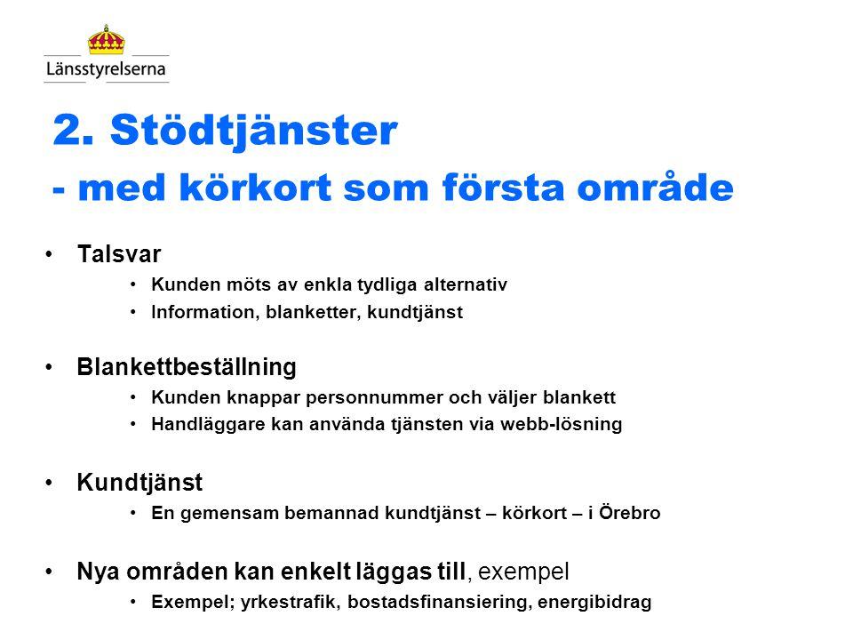 1. Gemensamt telefonnummer Ett gemensamt telefonnummer till Länsstyrelsen Sverige Geografisk styrning till rätt län (inkl. framtida möjligheter) Kunde