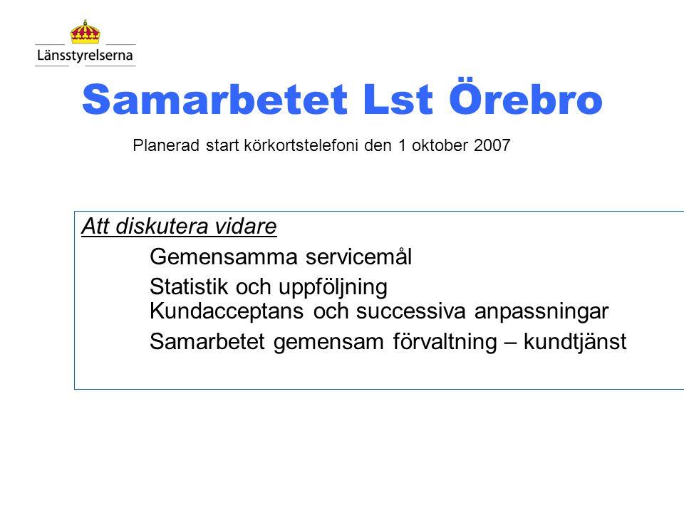 Samarbetet Lst Örebro Teleprojektet => Samarbetet har startat – 3 besök Telepolicy Uppdrag, avtal och förvaltningsorganisation Avtal teknikstöd m.m. F