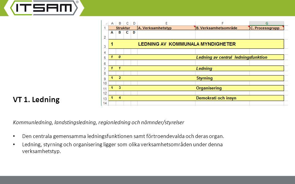 VT 1. Ledning Kommunledning, landstingsledning, regionledning och nämnder/styrelser Den centrala gemensamma ledningsfunktionen samt förtroendevalda oc