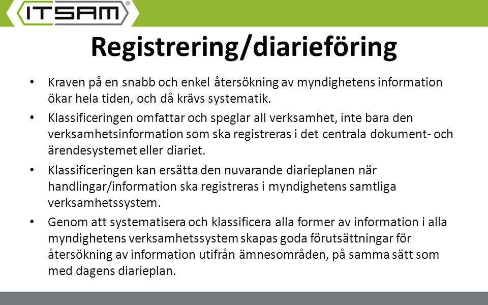 Registrering/diarieföring Kraven på en snabb och enkel återsökning av myndighetens information ökar hela tiden, och då krävs systematik. Klassificerin