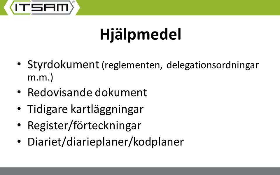 Hjälpmedel Styrdokument (reglementen, delegationsordningar m.m.) Redovisande dokument Tidigare kartläggningar Register/förteckningar Diariet/diariepla