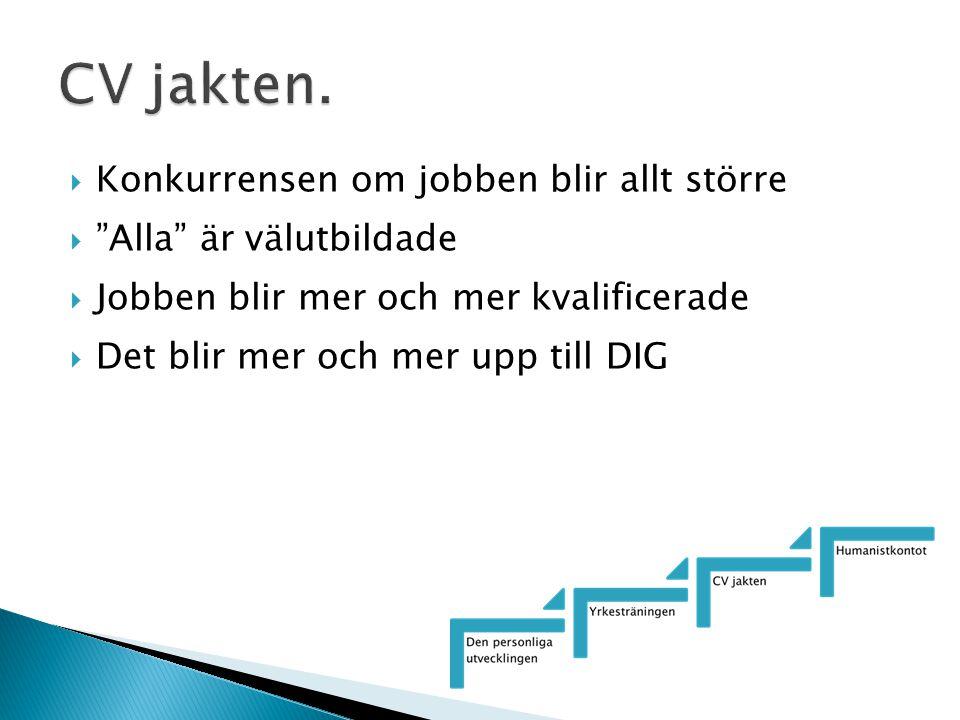 """ Konkurrensen om jobben blir allt större  """"Alla"""" är välutbildade  Jobben blir mer och mer kvalificerade  Det blir mer och mer upp till DIG"""