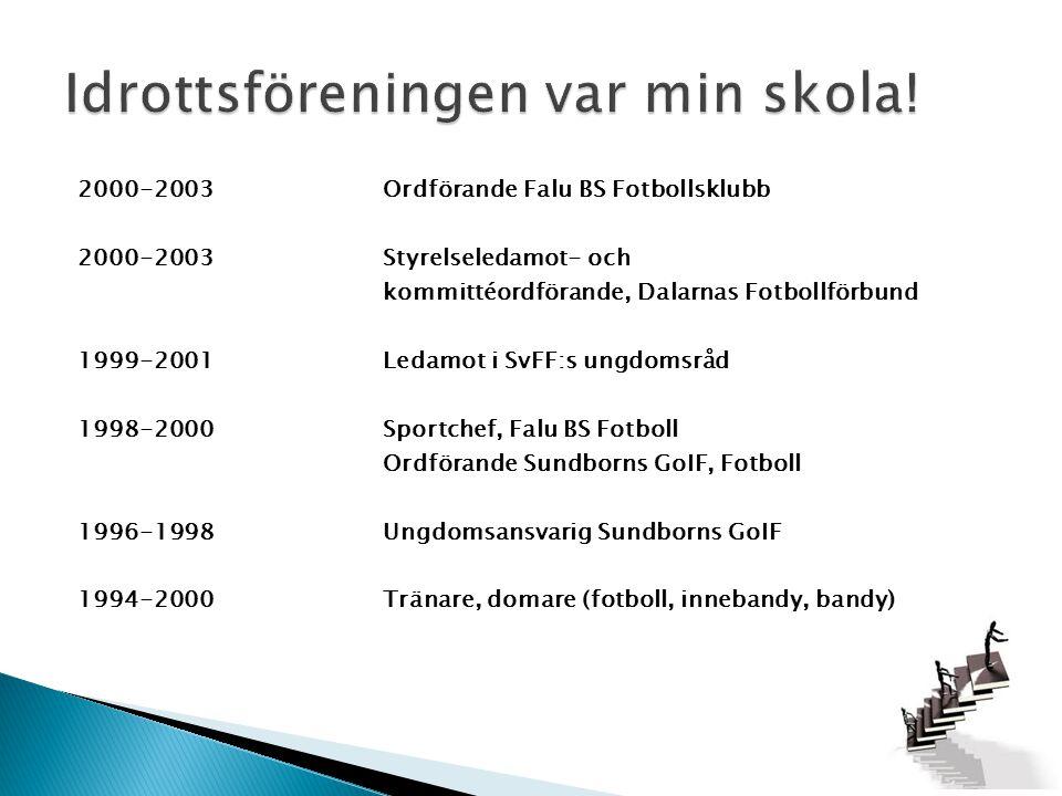 2000-2003Ordförande Falu BS Fotbollsklubb 2000-2003Styrelseledamot- och kommittéordförande, Dalarnas Fotbollförbund 1999-2001Ledamot i SvFF:s ungdomsr