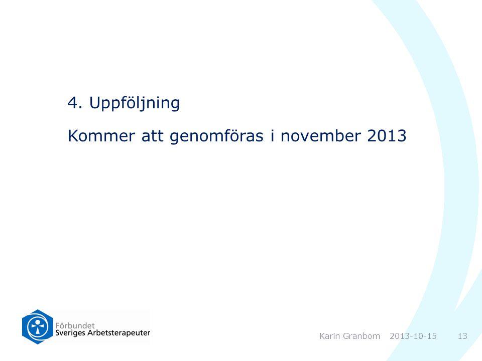 4. Uppföljning Kommer att genomföras i november 2013 2013-10-15Karin Granbom 13