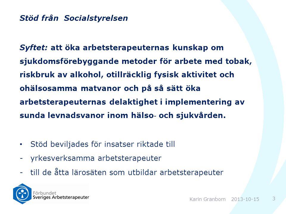 Stöd från Socialstyrelsen Syftet: att öka arbetsterapeuternas kunskap om sjukdomsförebyggande metoder för arbete med tobak, riskbruk av alkohol, otill