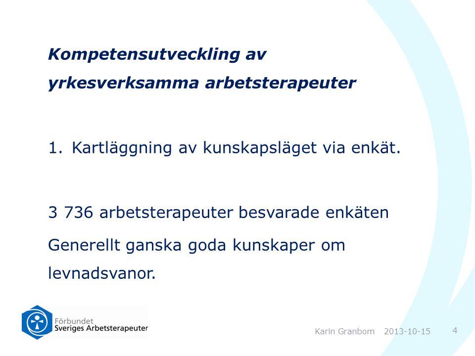 Kompetensutveckling av yrkesverksamma arbetsterapeuter 1.Kartläggning av kunskapsläget via enkät. 3 736 arbetsterapeuter besvarade enkäten Generellt g