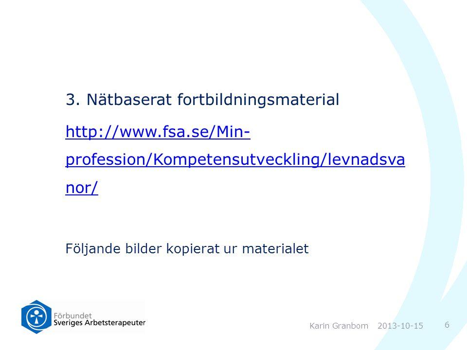 3. Nätbaserat fortbildningsmaterial http://www.fsa.se/Min- profession/Kompetensutveckling/levnadsva nor/ Följande bilder kopierat ur materialet 2013-1