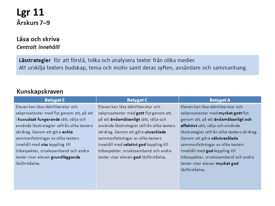 Lgr 11 Årskurs 7–9 Läsa och skriva Centralt innehålll Kunskapskraven Betyget EBetyget CBetyget A Eleven kan läsa skönlitteratur och sakprosatexter med