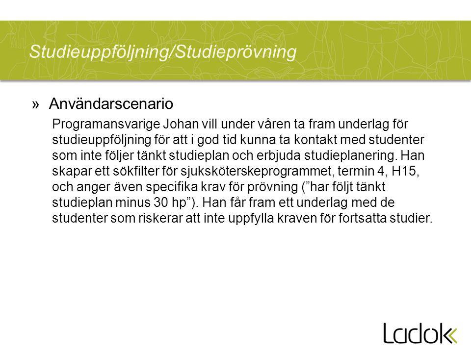 Studieuppföljning/Studieprövning »Användarscenario Programansvarige Johan vill under våren ta fram underlag för studieuppföljning för att i god tid kunna ta kontakt med studenter som inte följer tänkt studieplan och erbjuda studieplanering.
