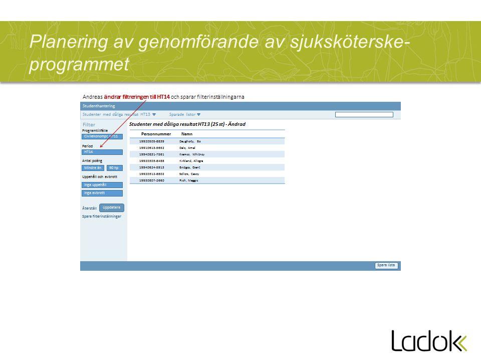 Planering av genomförande av sjuksköterske- programmet