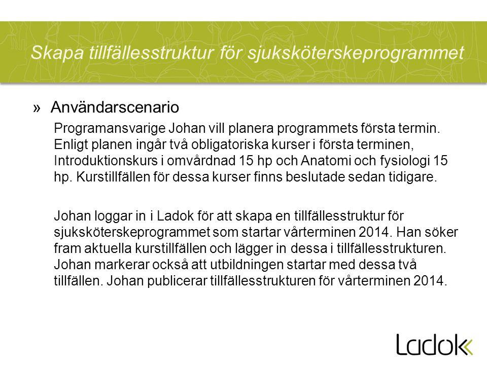 Skapa tillfällesstruktur för sjuksköterskeprogrammet »Användarscenario Programansvarige Johan vill planera programmets första termin. Enligt planen in