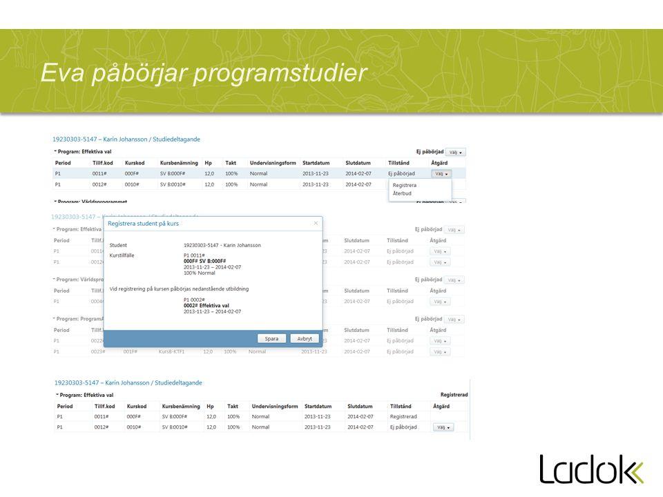 Forts Återupptagande … »(Exempel från befintligt GUI Peka ut nytt programtillfälle vid återupptagande och därmed få tillgång till ny utbildningsstruktur)