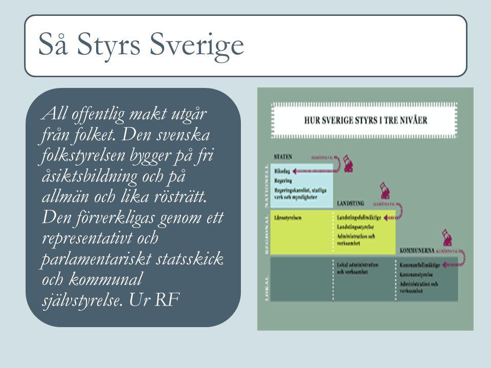 Så Styrs Sverige All offentlig makt utgår från folket. Den svenska folkstyrelsen bygger på fri åsiktsbildning och på allmän och lika rösträtt. Den för