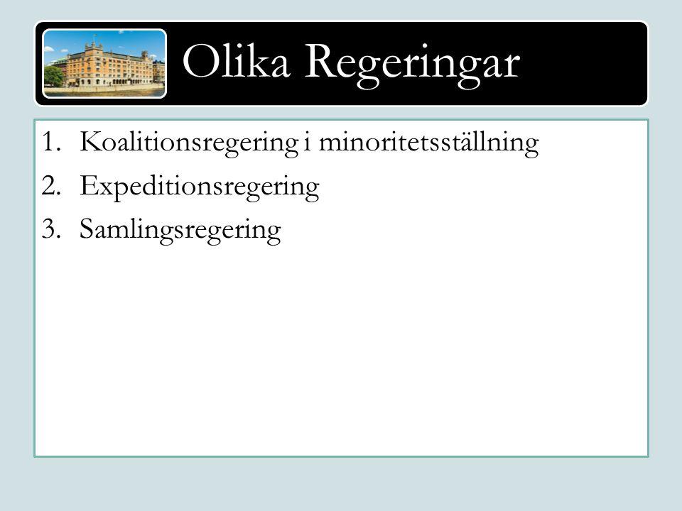 Olika Regeringar Majoritetsregering och koalitionsregering 1.Koalitionsregering i minoritetsställning 2.Expeditionsregering 3.Samlingsregering