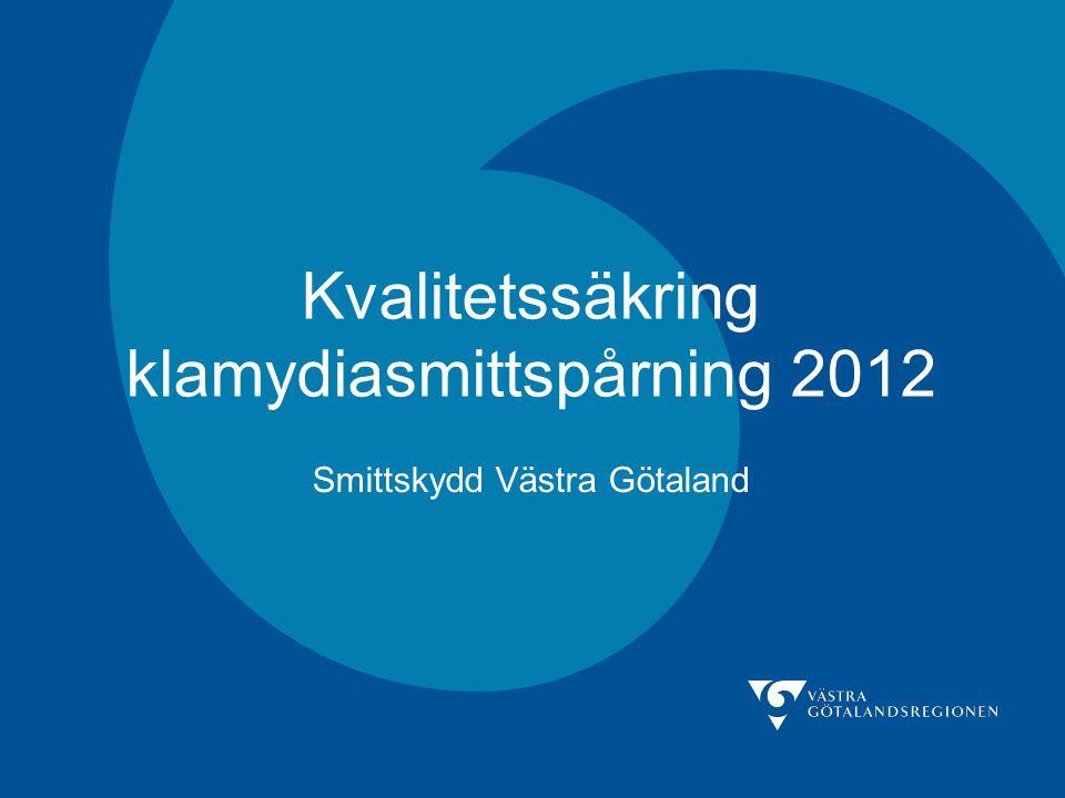 Kvalitetssäkring klamydiasmittspårning 2012 Smittskydd Västra Götaland