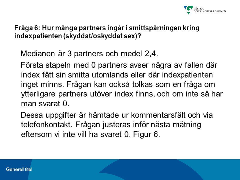 Generell titel Fråga 6: Hur många partners ingår i smittspårningen kring indexpatienten (skyddat/oskyddat sex)? Medianen är 3 partners och medel 2,4.