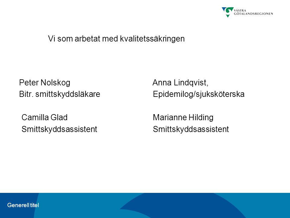 Generell titel Vi som arbetat med kvalitetssäkringen Peter Nolskog Anna Lindqvist, Bitr. smittskyddsläkare Epidemilog/sjuksköterska Camilla GladMarian
