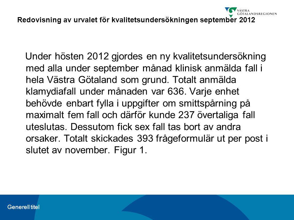 Generell titel Redovisning av urvalet för kvalitetsundersökningen september 2012 Under hösten 2012 gjordes en ny kvalitetsundersökning med alla under