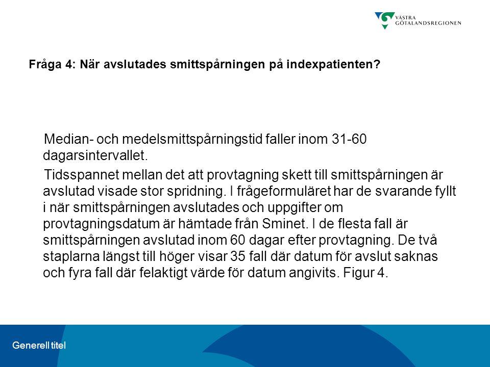 Generell titel Fråga 4: När avslutades smittspårningen på indexpatienten? Median- och medelsmittspårningstid faller inom 31-60 dagarsintervallet. Tids
