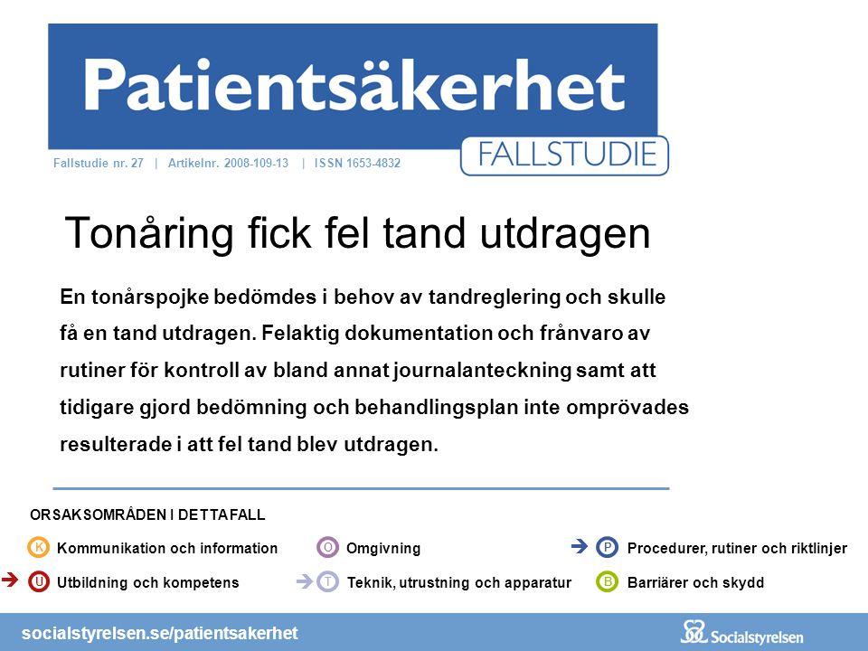 socialstyrelsen.se/patientsakerhet En tonårspojke bedömdes i behov av tandreglering och skulle få en tand utdragen. Felaktig dokumentation och frånvar