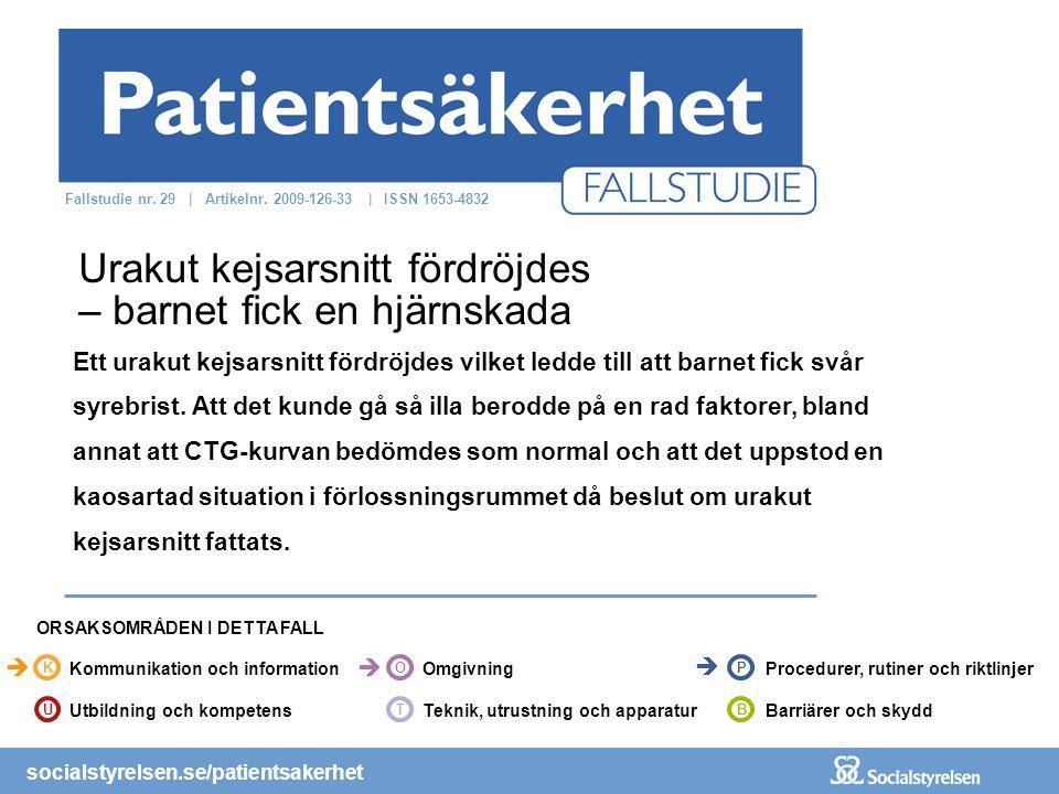 socialstyrelsen.se/patientsakerhet Ett urakut kejsarsnitt fördröjdes vilket ledde till att barnet fick svår syrebrist.