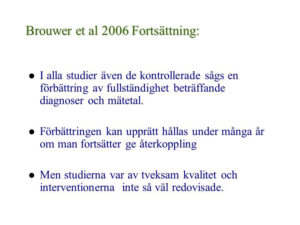 Brouwer et al 2006 Fortsättning: I alla studier även de kontrollerade sågs en förbättring av fullständighet beträffande diagnoser och mätetal. Förbätt