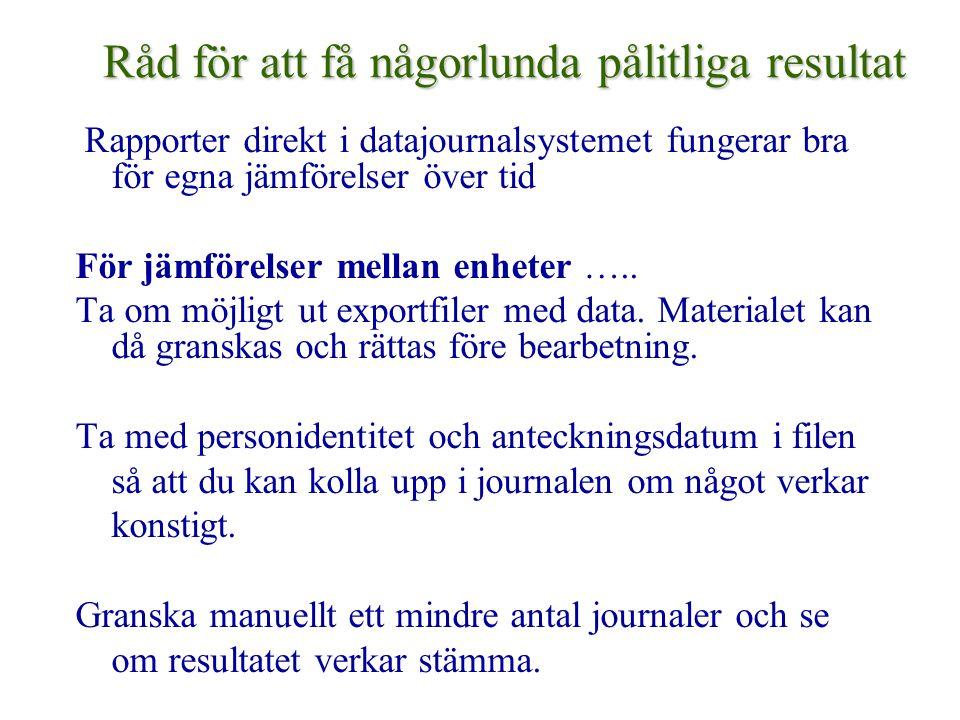 Råd för att få någorlunda pålitliga resultat Rapporter direkt i datajournalsystemet fungerar bra för egna jämförelser över tid För jämförelser mellan enheter …..
