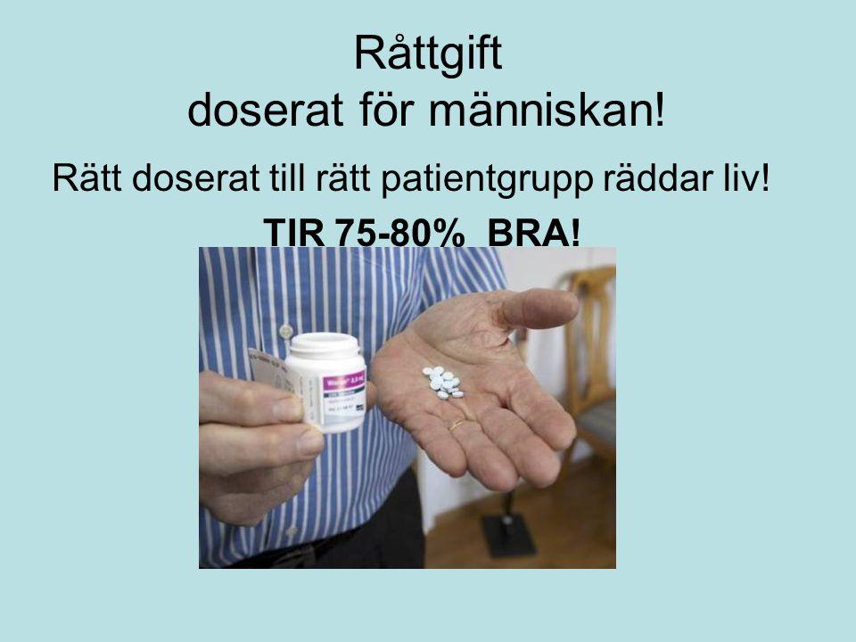 Råttgift doserat för människan! Rätt doserat till rätt patientgrupp räddar liv! TIR 75-80% BRA!