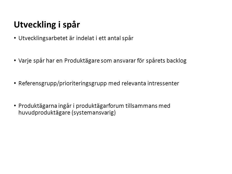 Sv Utvecklingsarbetet är indelat i ett antal spår Varje spår har en Produktägare som ansvarar för spårets backlog Referensgrupp/prioriteringsgrupp med