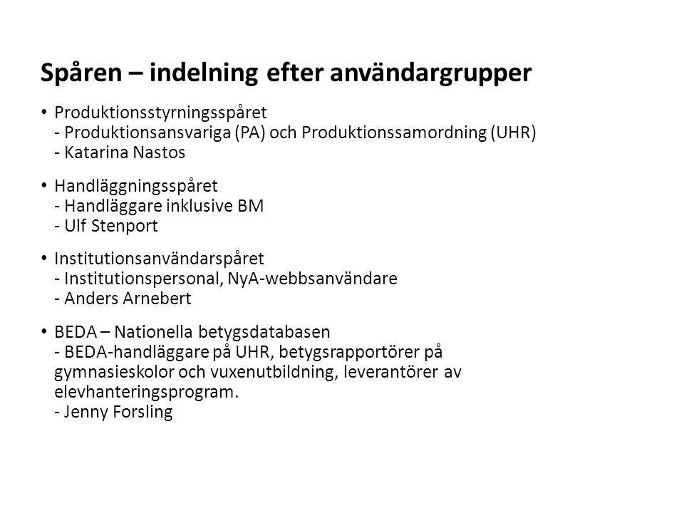 Sv Produktionsstyrningsspåret - Produktionsansvariga (PA) och Produktionssamordning (UHR) - Katarina Nastos Handläggningsspåret - Handläggare inklusiv